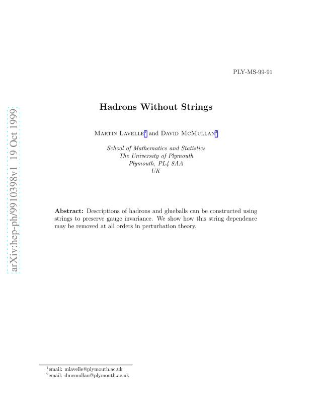Martin Lavelle - Hadrons Without Strings